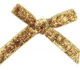 Mašle sametová úzká zlatá třpytivá 8 cm 12 kusů