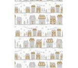 Ditipo Dárkový balicí papír 70 x 200 cm Vánoční bílý stříbrno-zlaté domky