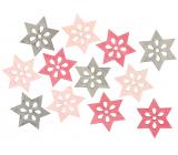 Hvězda dřevěná růžovo-šedá 4 cm 12 kusů