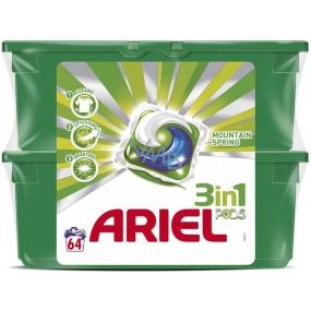 Ariel 3v1 Mountain Spring gelové kapsle na praní prádla 2 x 32 kusů