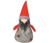 Santa šedý pletený na postavení 17 cm