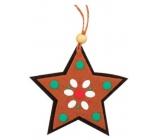 Perníček z filcu hvězda barevné na zavěšení 9 cm