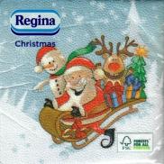 Regina Vánoční papírové ubrousky Světle modré, Santa na saních 1 vrstvé 33 x 33 20 kusů