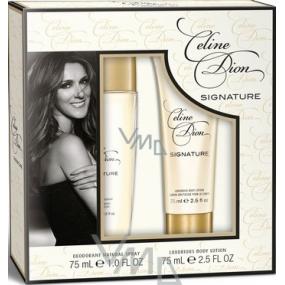 Celine Dion Signature parfémovaný deodorant sklo pro ženy 75 ml + tělové mléko 75 ml, kosmetická sada