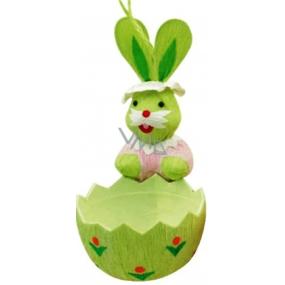 Zajíček s košíčkem zeleným 12 x 6 cm