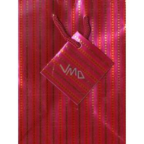 Nekupto Dárková papírová taška malá 14 x 11 x 6,5 cm růžová s proužky, 043 30 GS