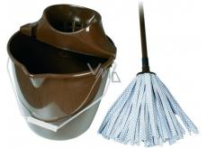 Spokar Úklidová souprava velká kbelík, ždímač, mop pásky hnědý