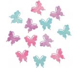 Motýli dřevění fialová, zelená, růžová 4 cm 12 kusů