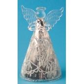 Anděl skleněný s námrazou na postavení 12 cm