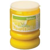 Bolsius Aromatic Citronela repelentní vonná svíčka proti komárům, v plastu, citronově žlutá 65 x 86 mm