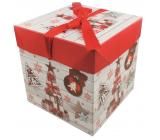 Dárková krabička skládací s mašlí Vánoční s dárky a ozdobami 10,5 x 10,5 x 10,5 cm