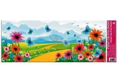 Room Decor Okenní fólie bez lepidla krajinka s modrým motýlem 60 x 22,5 cm 1 kus