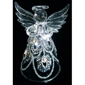 Anděl ze skla se stříbrným dekorem 8 cm