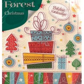 Forest Vánoční papírové ubrousky Vánoční dárky 1 vrstvé 33 x 33 cm 20 kusů