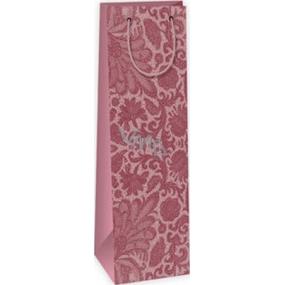 Ditipo Dárková papírová taška na láhev 12,3 x 7,8 x 36,2 cm bordó krajkový vzor STD