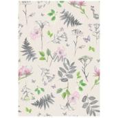 Ditipo Balicí papír světle zelený, kapradí a květiny 100 x 70 cm 2 kusy