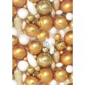 Ditipo Dárkový balicí papír 70 x 200 cm Vánoční zlaté baňky