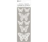 Samolepky bílé s glitry motýli 11 x 30 cm