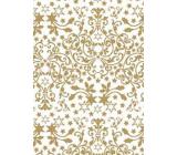 Ditipo Dárkový balicí papír 70 x 200 cm Bílý zlaté hvězdy a ornamenty