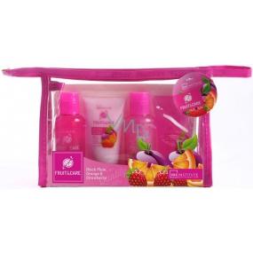 Idc Institute Fruit & Care Black Plum, Orange a Strawberry Cestovní set sprchový gel 70 ml + šampon 70 ml + tělové mléko 50 ml + peeling 50 ml + etue, kosmetická sada