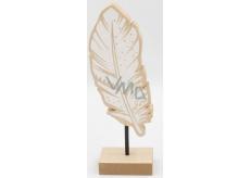 Nekupto Home Decor Dekorace stojánek dřevěné peříčko 20 x 4 x 6 cm
