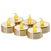 Emos Svíčky LED svítící jantarové, 3,8 cm, 6 kusů zlaté