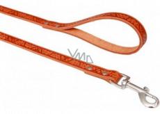 B&F Kožené vodítko přepínací Grazl vzor žaludový list barva koňak 1,6 x 120 cm