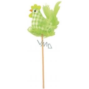 Slepice látková, zelená kostka zápich 6 cm + špejle