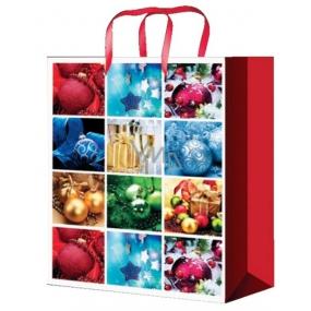Anděl Taška vánoční dárková červeno-bílá vánoční motivy L 32 x 26 x 12,7 cm