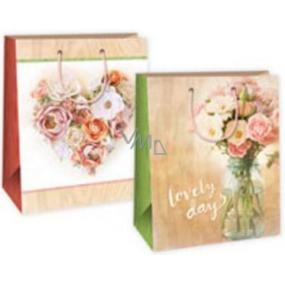 Ditipo Dárková papírová taška velká béžová růže - srdce, ve skle 26,4 x 13,6 x 32,7 cm DAB