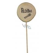 Bohemia Gifts Dřevěný zápich k bylinkám s potiskem - Pažitka průměr kolečka je 5 - 8 cm