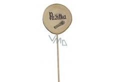 Bohemia Gifts & Cosmetics Dřevěný zápich k bylinkám s potiskem - Pažitka průměr kolečka je 5 - 8 cm