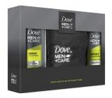 Dove Men + Care Sport Active Fresh sprchový gel pro muže 250 ml + antiperspirant deodorant sprej pro muže 150 ml + ručník, kosmetická sada