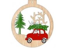 Albi Dřevěná vyřezávaná vánoční ozdoba Auto 9,5 x 8,5 cm