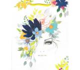 Ditipo Dárková papírová taška 18 x 23 x 10 cm bílá ženská tvář s kytkama