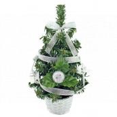 Vánoční stromek zdobený stříbrný s mašlí 20 cm