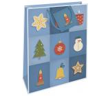 Nekupto Dárková papírová taška 32,5 x 26 x 13 cm Vánoční modrá s vánočními motivy WBL 1952 40