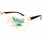 Berkeley Čtecí dioptrické brýle +2,5 plast bílé průhledné mat, vínové postranice 1 kus MC2191