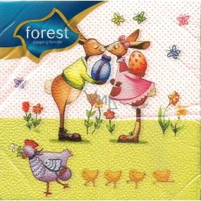 Forest Velikonoční ubrousky Zaječí polibek 33 x 33 cm 1 vrstvé 20 kusů