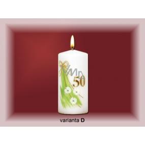 Lima Jubilejní 50 let svíčka bílá zdobená 70 x 150 mm 1 kus