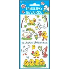 Samolepky na vajíčka gelové tradiční motivy kuře s pomlázkou 19 x 9 cm