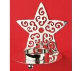 Svícen kovový stříbrná hvězda 9 cm na čajovou svíčku