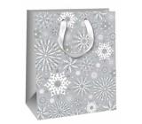 Ditipo Dárková papírová taška Glitter 26,4 x 13,6 x 32,7 cm šedá vločky