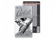 Colorino Artist kreslířská sada grafitových tužek a uhlů, kulaté, 10 tužek a měkký a tvrdý uhel, kovový box