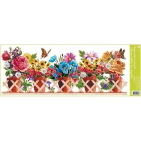 Okenní fólie bez lepidla pruh truhlíkové květiny větináče 60 x 22,5 cm