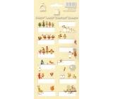 Arch Vánoční etikety samolepky Zvířátka žlutý arch 709 12 etiket