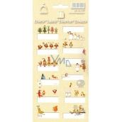 Arch Vánoční etikety samolepky Zvířátka žlutý arch 12 etiket
