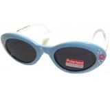 Dudes & Dudettes Sluneční brýle pro děti světle modrá, bílé stranice s kytičkami JKP085