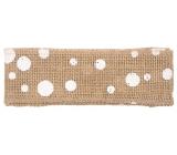 Stuha z juty s bílými kolečky šířka 6 cm, 2 m