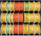 Nekupto Stuha látková oranžová bílé puntíky 3 m x 25 mm